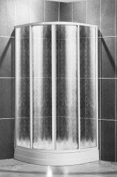 Roltechnik SPCR2 900 íves, keretes, műanyag görgős zuhanykabin, zuhanytálca nélkü / fehér profillal / chinchilla üveggel / cikkszám: 306-900R550-04-03