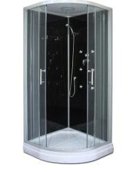 Roltechnik LUX BLACK 90x90 cm Íves zuhanykabin / HIDRO- MASSZÁZSKABIN / ezüst profillal / Transparent (átlátszó) üveggel / Fekete hátsó falak / cikkszám: 4000389