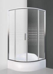 Roltechnik BUFFALO NEO/800, 80x80 cm-es íves, keretes, görgős zuhanykabin / brillant profillal / transparent (átlátszó) üveggel + mintával / cikkszám: N0660 / Sanipro