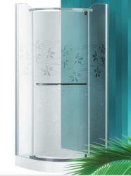 Roltechnik AUSTIN LUX/800 80x80 cm-es, íves, keret nélküli, nyíló zuhanykabin / ezüst profillal / transparent (átlátszó) üveggel + mintával / N0711 /Sanipro