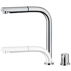TEKA AURA AUK 983 mosogató csaptelep, vízkőmentes perlátor, besüllyeszthető és kihúzható fej, ablak alatti mosogató tálcához, forgatható, króm 50.983.02.00 / 509830200