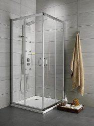 RADAWAY Premium Plus D aszimmetrikus zuhanykabin 100x80x190 / 08 barna üveg / 30434-01-08N