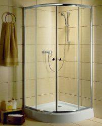 RADAWAY Dolphi Classic A 1850 negyedköríves / íves zuhanykabin  90x90 cm-es, 08 barna üveg / fehér keret, 30000-04-08