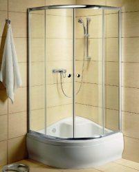 RADAWAY Dolphi Classic A 1700 negyedköríves / íves zuhanykabin  90x90 cm-es, 06 fabrik üveg / fehér keret, 30001-04-06