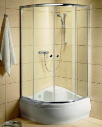 RADAWAY Dolphi Classic A 1700 negyedköríves / íves zuhanykabin  90x90 cm-es, 08 barna üveg / fehér keret, 30001-04-08
