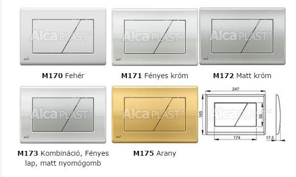 db7c56987a AlcaPLAST M173 Kétöblítéses nyomólap falba építhető tartályhoz, Fényes  keret matt nyomógomb