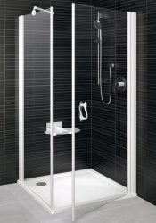 RAVAK Elegance ESKPS-100 Kétrészes balos zuhanykabin fix oldallal fehér kerettel / TRANSPARENT edzett biztonsági üveggel 100 cm / 1MLA0100Z1