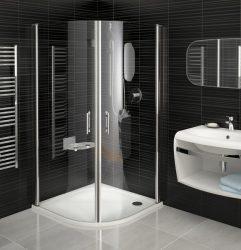 RAVAK Elegance ESKK2-80 Negyedköríves zuhanykabin fehér kerettel / TRANSPARENT edzett biztonsági üveggel 80 cm / 3E040100Z1