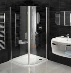 RAVAK Elegance ESKK2-100 Negyedköríves zuhanykabin fehér kerettel / TRANSPARENT edzett biztonsági üveggel 100 cm / 3E0A0100Z1
