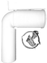 HL224.1 WC-csatlakozó könyök DN110 rövidíthető bemenettel, bilinccsel és felerősítő kengyellel