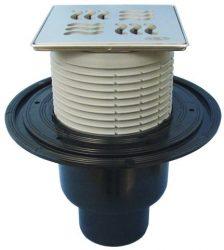 """HL310N-3125 Padlólefolyó DN50/75/110 függőleges kimenettel, vízbűzzárral, 121x121mm KLICK-KLACK/115x115mm """"Yukon"""" ráccsal"""