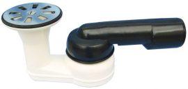 """HL514-80 Zuhanytálca szifon, vízszintes DN40/50x6/4"""" gömbcsuklós kimenettel, 6/4"""" szeleppel, hajfogóval, dugóval"""
