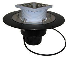 HL62.1B/1 Tetőlefolyó DN110 szigetelőkarimával, szorítóelemmel, lefolyóráccsal és 10-30W/230V fűtéssel