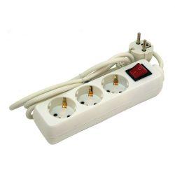 1,5m-es villamos elosztó, kapcsolóval, 3 aljzat, földelt, 250V/16A, max :3500W (84720)