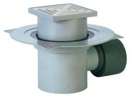 HL72.1 Padlólefolyó DN75/110 vízszintes kimenettel, szigetelő karimával, bűzzárral, 148x148mm/138x138mm műanyag rácstartóval és ráccsal