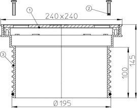 HL622 Rácstartó d 195mm/240x240mm/226x226
