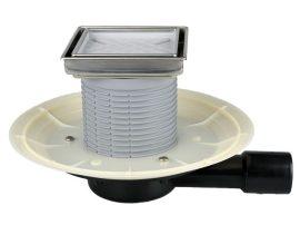HL90Pr-3020 Alacsony padlólefolyó vízszintes DN40/50 csatlakozóval, Primus száraz bűzzárral, becsempézhető lefolyólappal 132x132mm/ 112x112mm