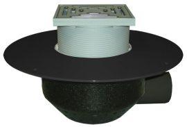 HL64BF/7 Lapostető lefolyó vízszintes DN75, PP szigetelő tárcsával, járható tetőhöz - 148-148mm / 137x137mm
