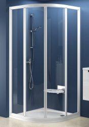 RAVAK SUPERNOVA SKCP4-90 négyelemes, negyedköríves tolórendszerű zuhanykabin fehér kerettel / RAIN műanyag (plexi) betétlemez, 90 cm-es / 3117010041