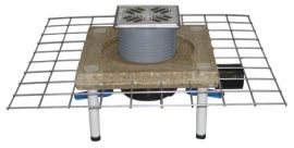 HL510NC Padlólefolyó CeraDrain polymerbeton karimával, DN50/75/110 vízszintes kimenettel, vízbűzzárral, 121x121mm KLICK-KLACK/115x115mm ráccsal