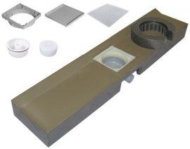 HL530 Zuhanyfolyóka blokk 1200x256x115mm, vízszintes elhúzású DN50 lefolyóval, 133x133mm becsempézhető lefolyólappal