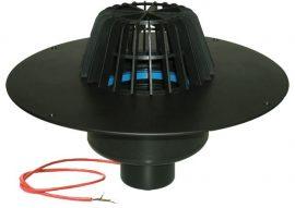 HL62.1F/1 Lapostető lefolyó függőleges DN110, PP szigetelő tárcsával, fűthető (10-30W/230V), lombfogó kosárral