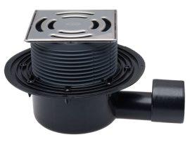 HL5100 Padlólefolyó DN50/75 vízszintes kimenettel 145x145 mm Klick-Klack rácstartóval, 138x138 mm ráccsal.