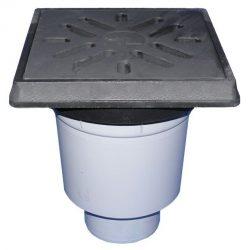 HL606.1W/1 Perfekt lefolyó DN110 függőleges kimenettel, műanyag 260x260mm kerettel, 226x226mm öntöttvas ráccsal, vízbűzzárral, szemétfogó kosárral.