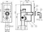 HL404.WE Mosógép-szifon falba süllyesztve DN40/50, HL19 tömlőcsatlakozóval, beépítő házzal, 110x225 fehér fedéllel