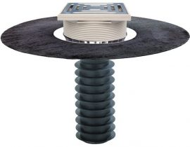 HL69BH/2 Tetőlefolyó, DN125 tetőjavításhoz, 148x148mm/137x137mm lefolyóráccsal, gyárilag felhegesztett bitumengallérral