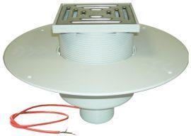 HL62.1BP/1 Lapostető lefolyó DN110, PVC karimával, fűtéssel (10-30W/230V), járható kivitel (148x148mm/137x137mm).