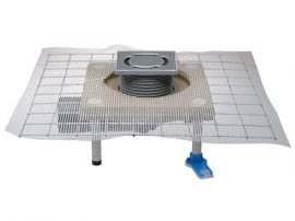 HL80.1C Padlólefolyó DN50/75 elfordítható kimenettel, CeraDrain polymerbeton szigetelő karimával, vízbűzzárral, 123x123mm/115x115mm