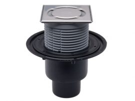 HL310N-3000 Padlólefolyó DN50/75/110 függőleges kimenettel, vízbűzzárral, 121x121mm KLICK-KLACK/115x115mm ráccsal