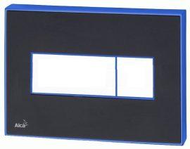 AlcaPLAST  M1474-AEZ111, Nyomógomb előtétfalas rendszerekhez színes betéttel (Fekete-fényes) és háttérvilágítással (Kék)