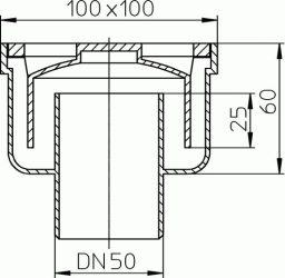 HL93 Padlólefolyó DN50 függőleges csatlakozóval, bűzzárral, 100x100mm rácstartóval, műanyag ráccsal