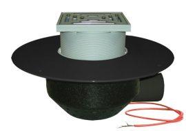 HL64.1BF/1 Lapostető lefolyó vízszintes DN110, PP szigetelő tárcsával, fűthető (10-30W/230V), járható tetőhöz - 148-148mm / 137x137mm