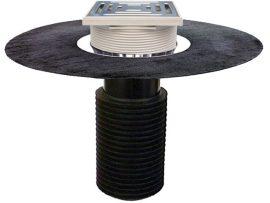 HL69BH/5 Tetőlefolyó, DN160 tetőjavításhoz, 148x148mm/137x137mmlefolyóráccsal, gyárilag felhegesztett bitumengallérral
