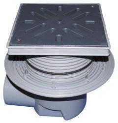 HL615LW Perfekt lefolyó DN110 vízszintes kimenettel, szigetelő karimával, 244x244mm műanyag kerettel, 226x226mm műanyag ráccsal, vízbűzzárral, szemétfogó kosárral.