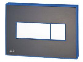 AlcaPLAST M1475-AEZ111, Nyomógomb előtétfalas rendszerekhez színes betéttel (Fekete-matt) és háttérvilágítással (Kék)