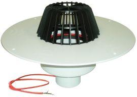 HL62.1P/1 SuperDrain lapostető lefolyó DN110, PVC karimával, fűtéssel (10-30W/230V).