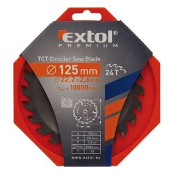 EXTOL PREMIUM körfűrészlap, keményfémlapkás, 2,6mm lapkaszél., max. 10000 f/p 125×22,2mm, T40 / 8803207 / (MB)