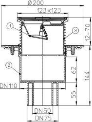 HL310N.2 Balkon- és teraszlefolyó DN50/75/110 függőleges kimenettel, szigetelő karimával, mechanikus bűzzárral, 123x123mm/115x115mm