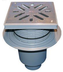 HL616SW/1 Perfekt lefolyó DN110 függőleges kimenettel, szigetelő karimával, 244x244mm műanyag kerettel, 226x226mm nemesacél ráccsal, vízbűzzárral, szemétfogó kosárral.