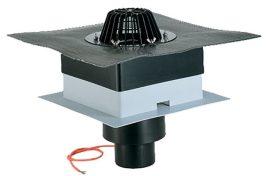 """HL63.1H/1 Tetőlefolyó """"DrainBox"""" DN110 szigetelőkarimával, gyárilag felhegesztett bitumengallérral és 10-30W/230V fűtéssel"""