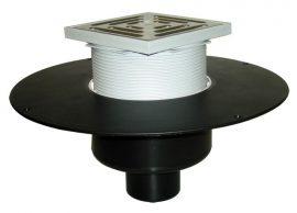 HL62BF/2 Lapostető lefolyó függőleges DN125, PP szigetelő tárcsával, járható tetőhöz - 148-148mm / 137x137mm