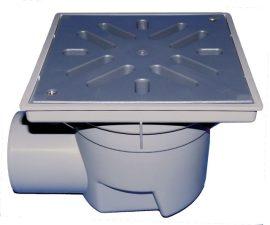 HL605LW Perfekt lefolyó DN110 vízszintes kimenettel, 244x244mm műanyag kerettel, 226x226mm műanyag ráccsal, vízbűzzárral, szemétfogó kosárral.