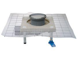 HL80CR Balkon- és teraszlefolyó test DN50/75 elfordítható kimenettel, polymerbeton szigetelő karimával, d 133mm/d 112mm