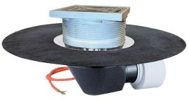 HL64.1BH Tetőlefolyó vízszintes kimenettel, DN75/110, gyárilag felhegesztett bitumengallérral, lefolyóráccsal és 10-30W/230V fűtéssel