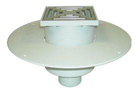 HL62BP/2 Lapostető lefolyó DN125, PVC karimával, járható kivitel (148x148mm/137x137mm).