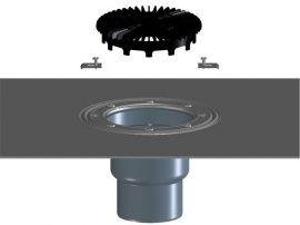 HL3100THK Terasz- és balkonlefolyó test DN75/110 függőleges csatlakozóval, bitumengallérral